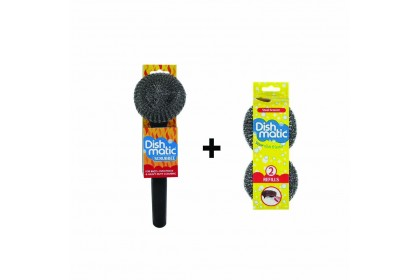 Dishmatic Scrubbee Cleaning Combo_ Handle unit & 1 refill pack (2x stainless steel sponge)